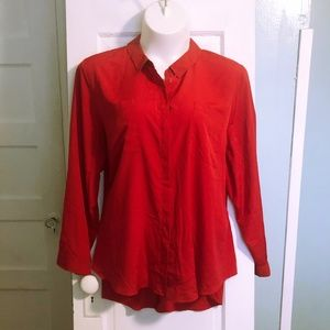 Lane Bryant Red Split Back Button-front Top - 4X